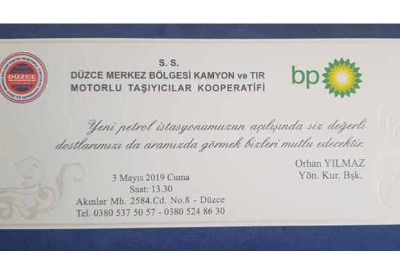 Eski Dernek Başkanımız Orhan Yılmaz'ın petrol ofisi açılışı 3 Mayıs 2019 Cuma günü olacaktır